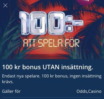 100 kr att spela för hos Hajper Casino
